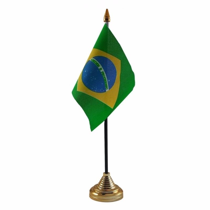 Brazilie tafelvlaggetje 10 x 15 cm met standaard