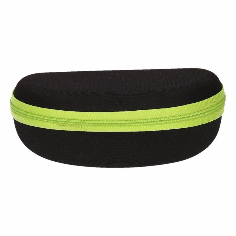 Brillen etui zwart met groen