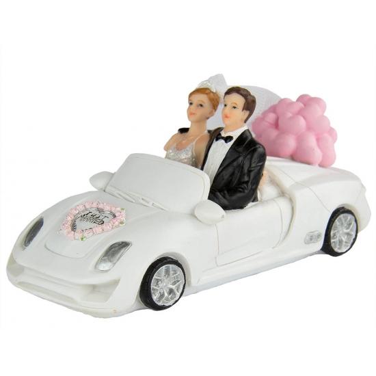 Bruidspaar in witte cabrio taart decoratie 14 cm