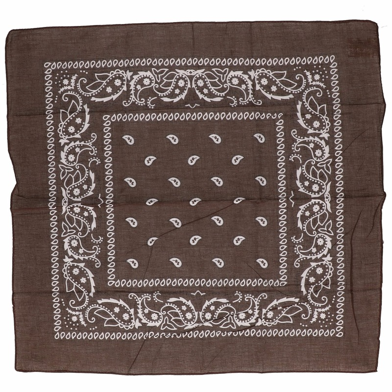 Bruine biker bandana zakdoek 55 x 55 cm