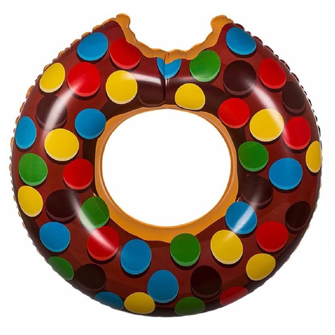 Bruine donut zwemband met spikkels 119 cm