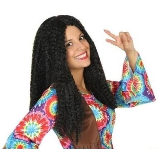 Bruine hippie - flower power verkleed pruik voor dames