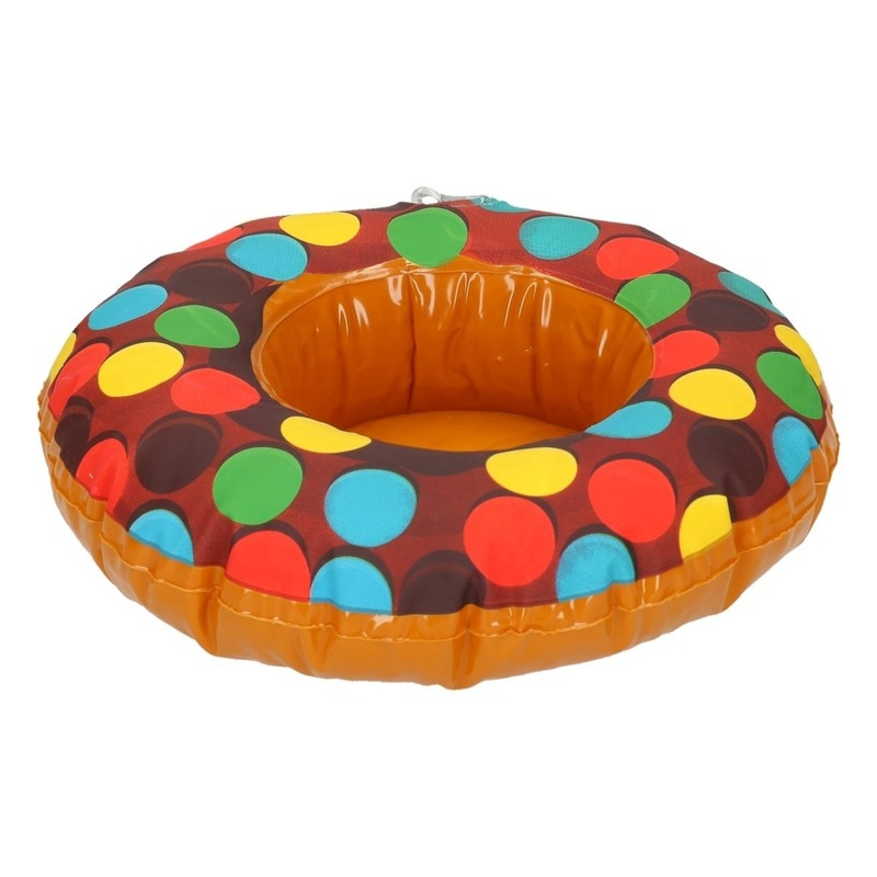 Bruine opblaasbare donut blikjes houder
