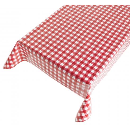 Buiten tafelkleed/tafelzeil rode ruiten 140 x 240 cm