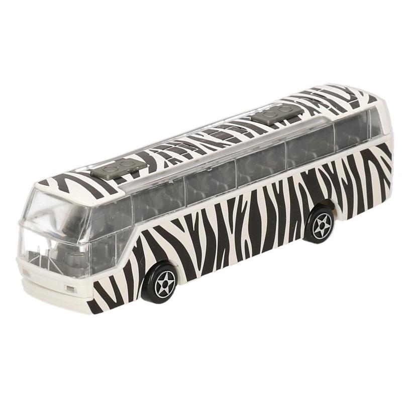 Bus safari speelgoedauto zebra print 14 cm