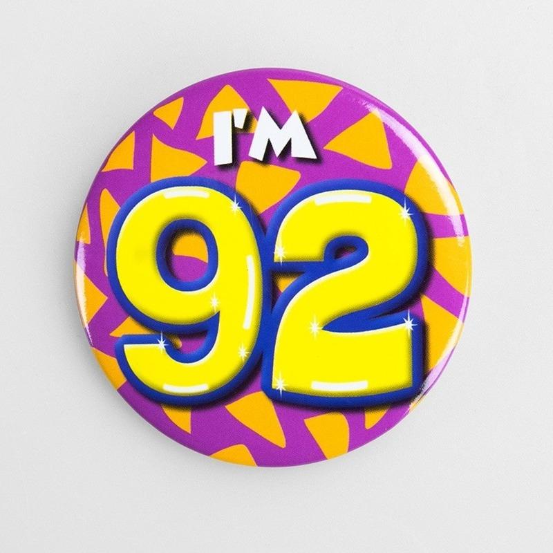 Button 92 jaar leeftijd decoratie