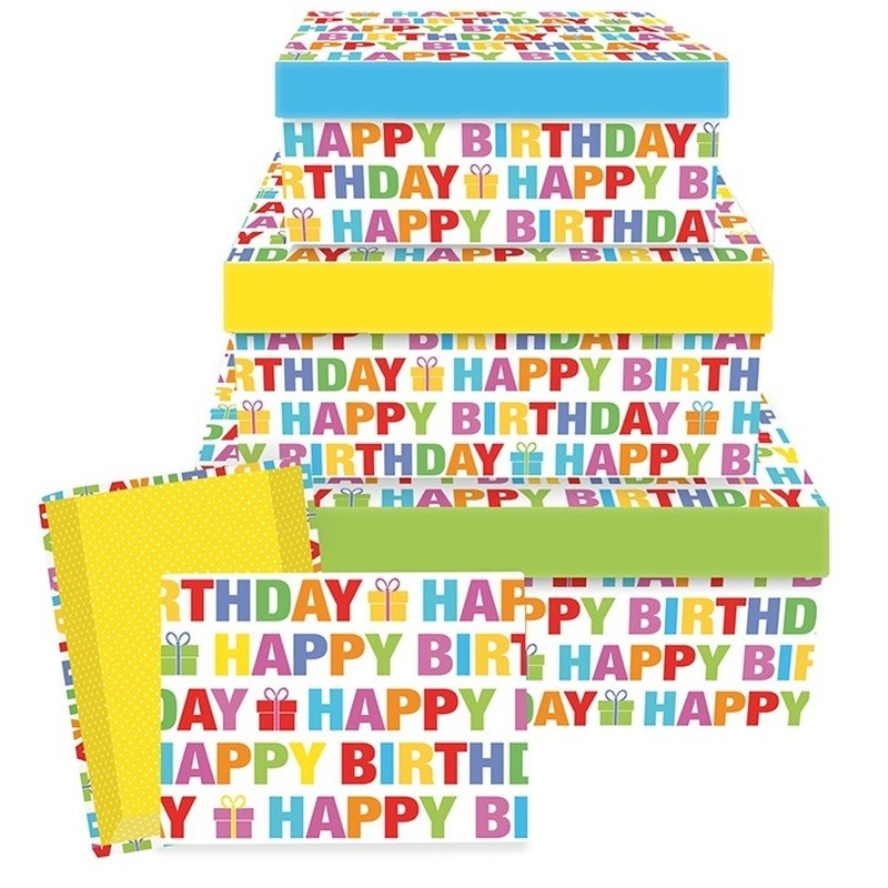 Cadeaudoosje Happy Birthday 22 cm