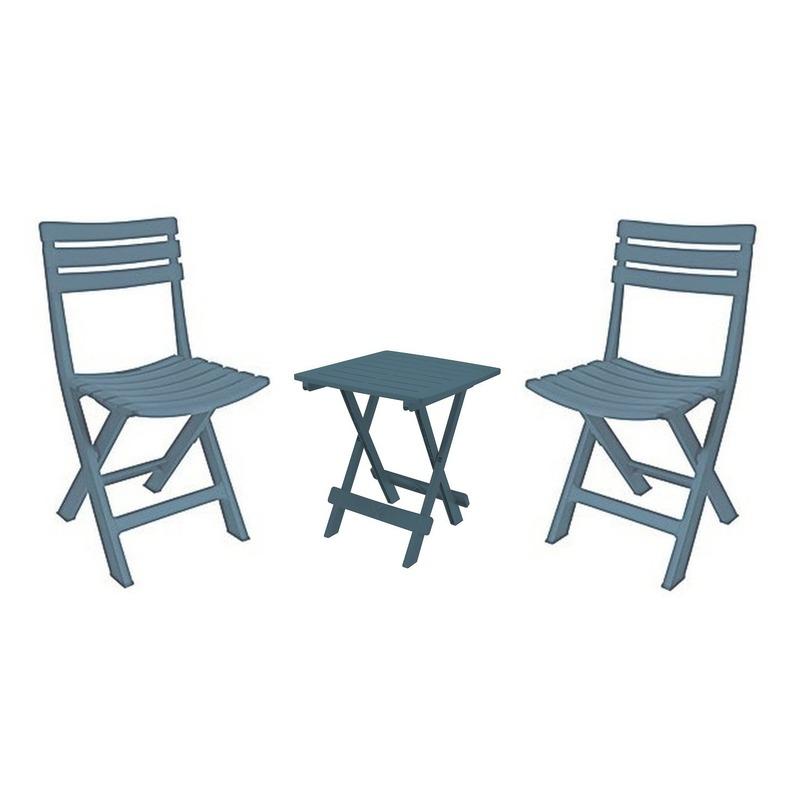 Camping vouwtafeltje grijsblauw met 2 stoeltjes