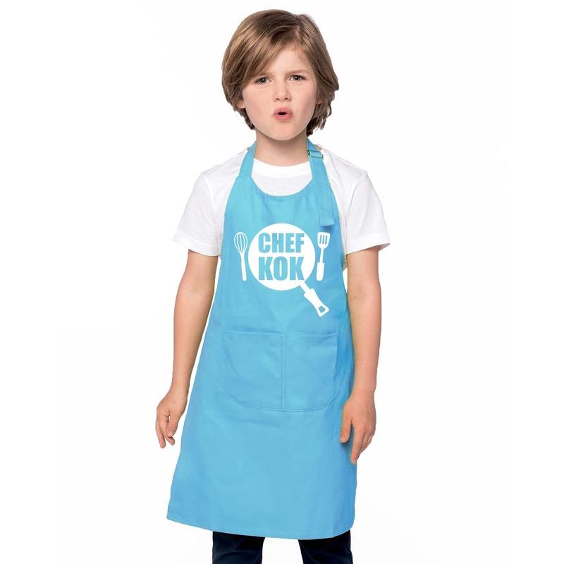 Chef kok keukenschort blauw kinderen