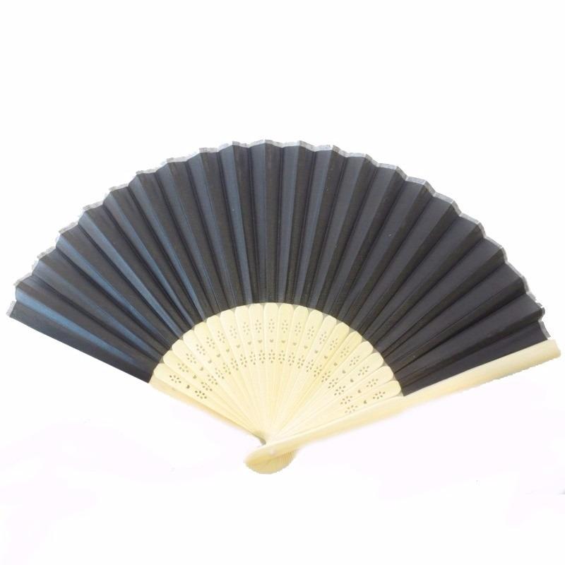 Chinese handwaaier hout zwart 38 x 21 cm