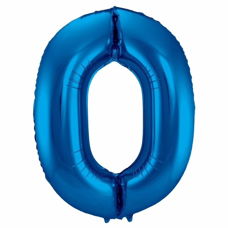 Cijfer 0 nul ballon blauw 86 cm