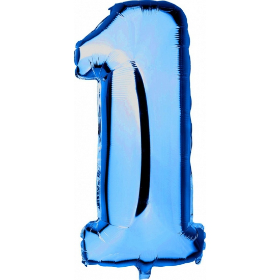Cijfer 1 ballon blauw