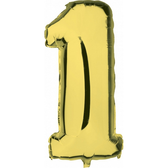 Cijfer 1 ballon goud