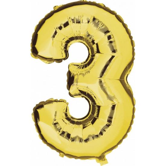 Cijfer 3 grote leeftijdversiering ballonnen goud 100 cm