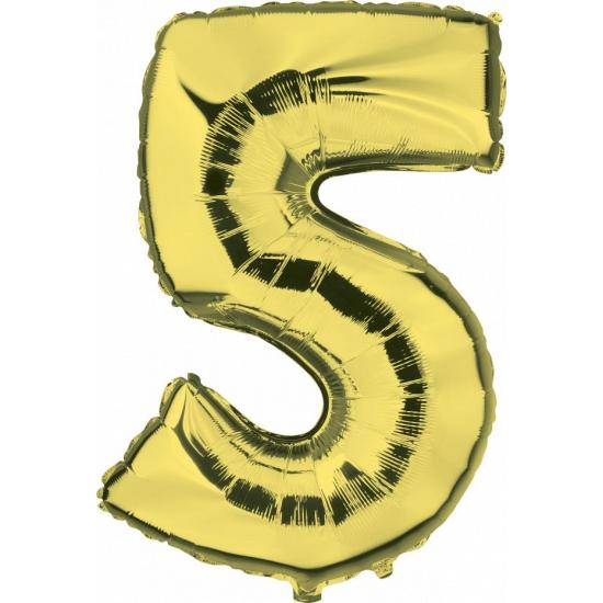 Cijfer 5 ballon goud