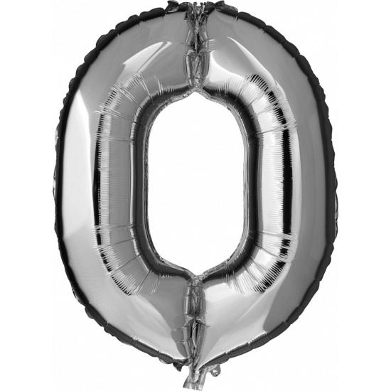 Cijfer nul 0 ballon zilver