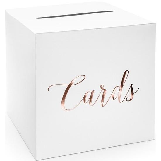 Communie enveloppendoos wit/rosegoud Cards 24 cm