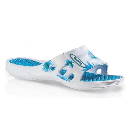 Dames badslippers met blauwe bloemen