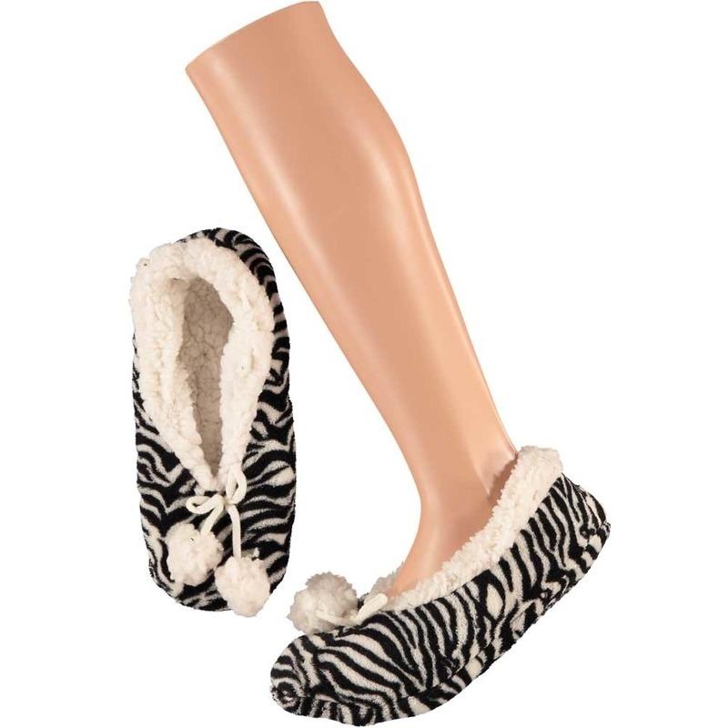 Dames ballerina pantoffels/sloffen zebra zwart/wit maat 40-42