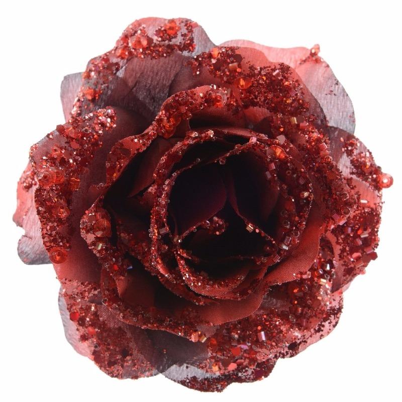 Decoratie kunstbloem roos rood 14 cm