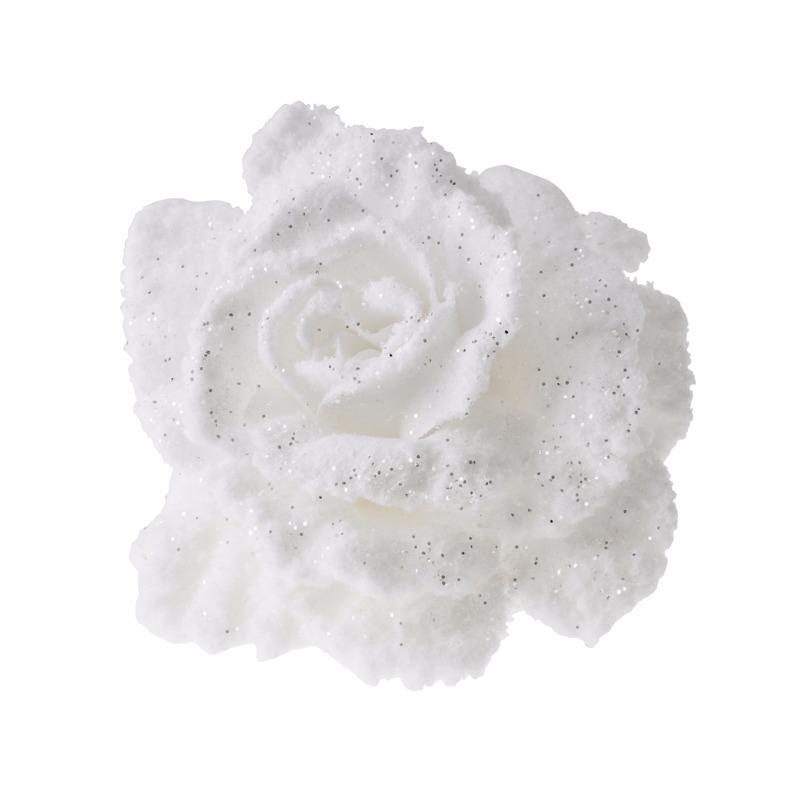 Decoratie kunstbloem roos wit 10 cm