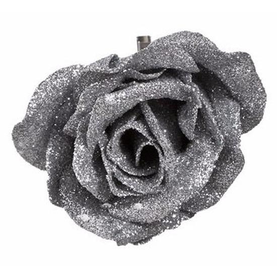 Decoratie kunstbloem roos zilver 9 cm