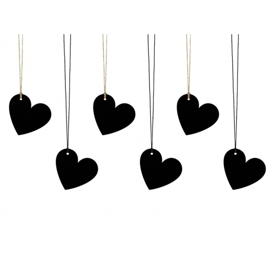 Decoratie labels hartjes zwart 6 stuks