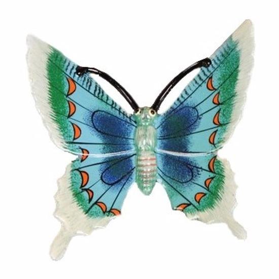 Decoratie vlinder wit/blauw 11 cm kunststof