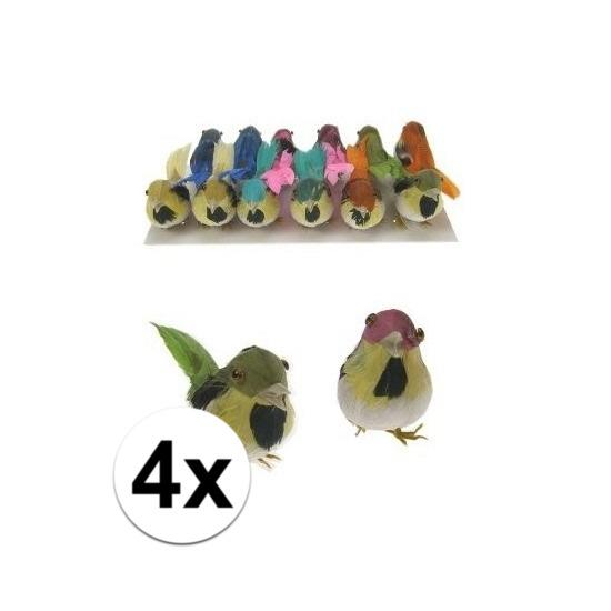 Decoratie vogeltje 4 stuks