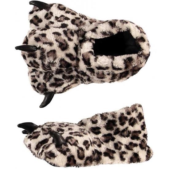Dierenpoot sloffen/pantoffels luipaard voor kinderen