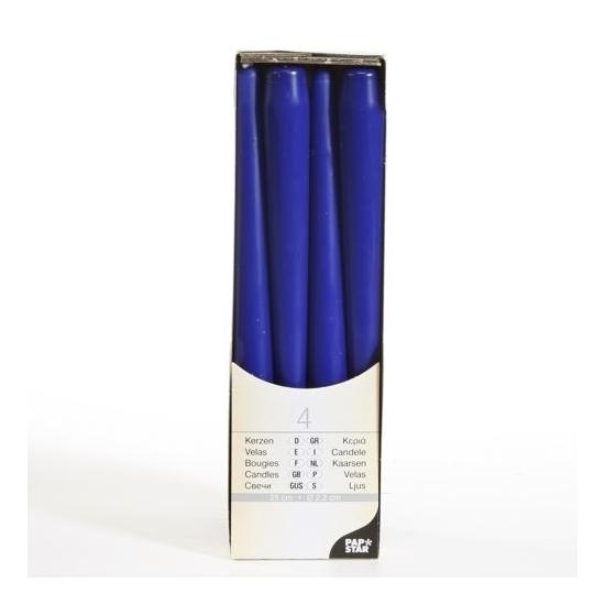 Donkerblauwe kandelaar kaarsen 25 cm