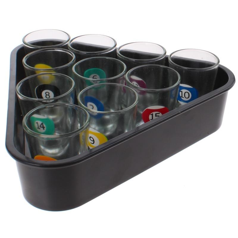 Drankspel-drinkspel beer pong set biljart shotglaasjes 11-delig