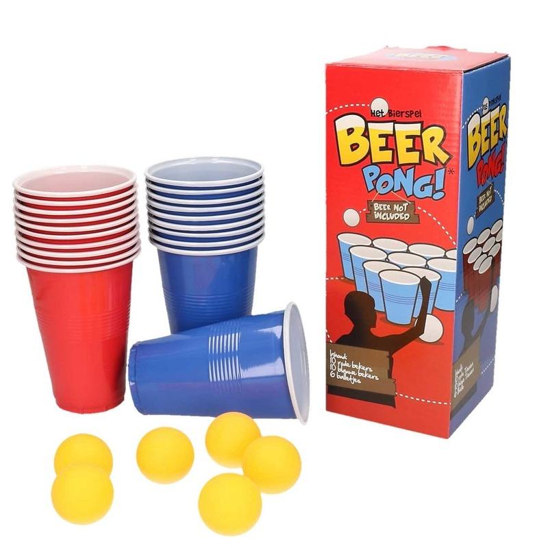Drankspel/drinkspel beer pong set met red en blue cups