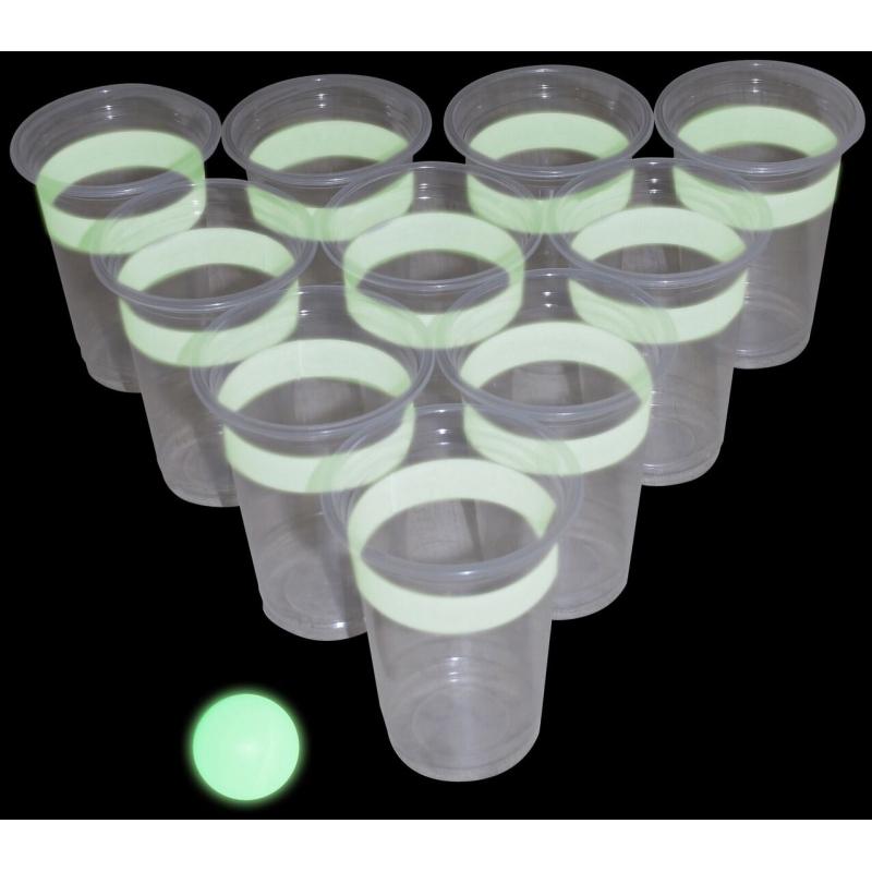 Drankspel/drinkspel glow in the dark beer pong