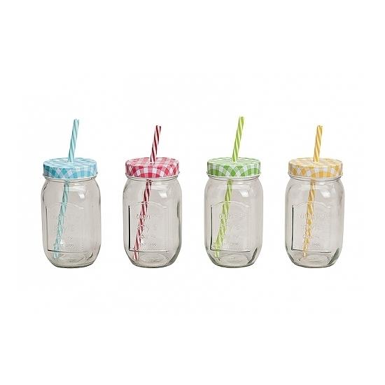 Drinkbeker-glas potje met rietje