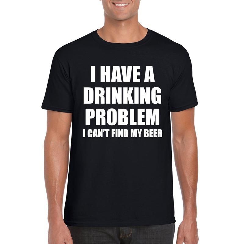 Drinking problem beer tekst t-shirt zwart heren