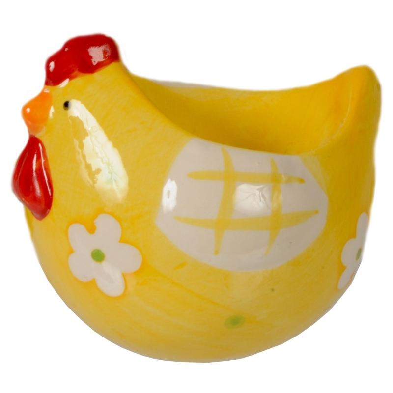Eierdop kip geel 8 cm