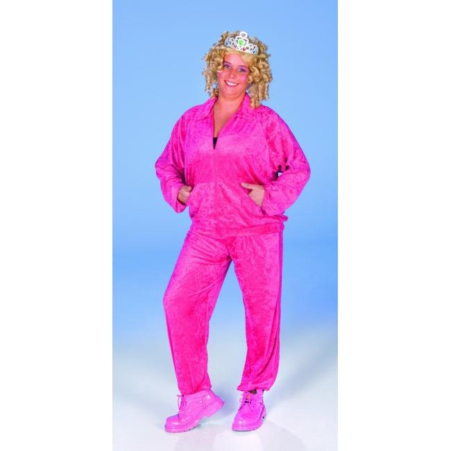 Fel roze lounge pak met fluweel look