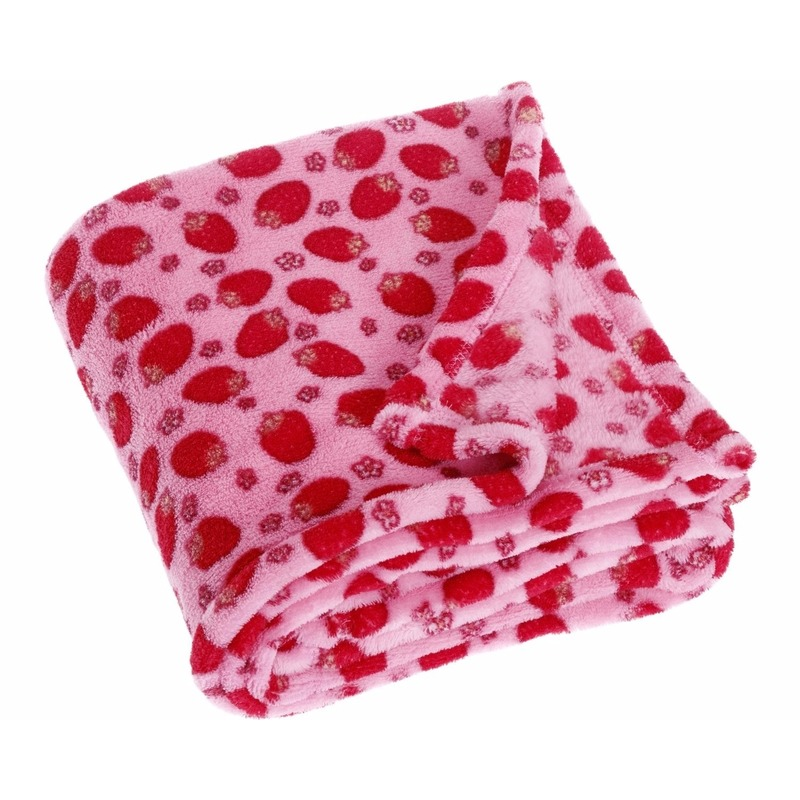 Fleece deken aardbeien design 75 x 100 cm
