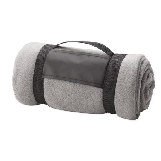 Fleece deken/plaid grijs met afneembaar handvat 160 x 130 cm