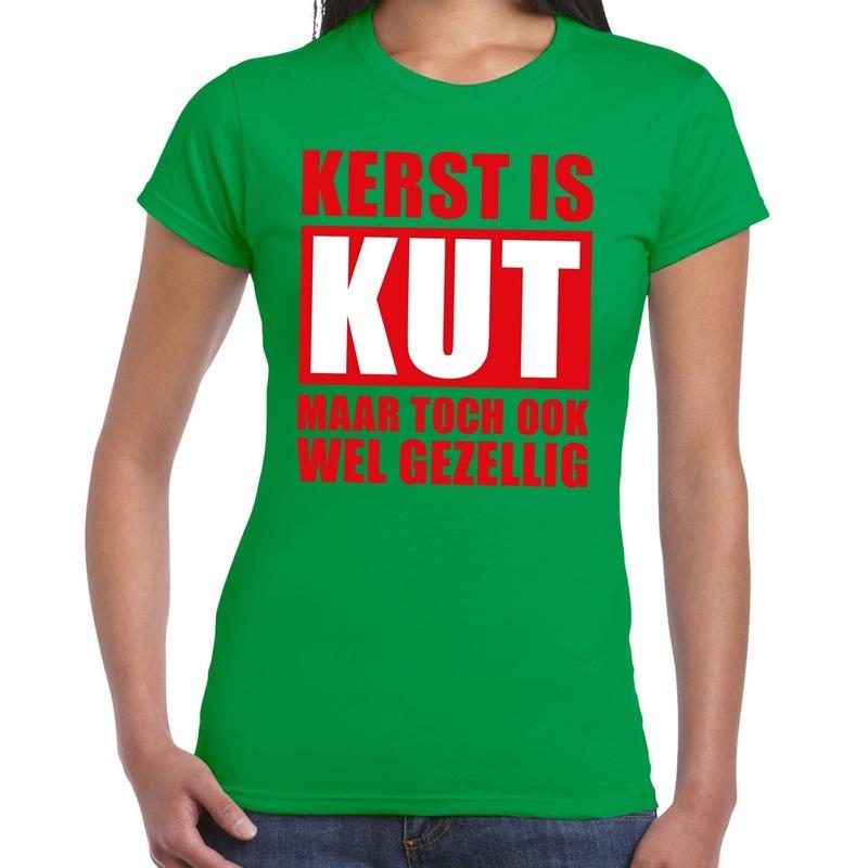 Foute Kerst t-shirt Kerst is kut maar toch gezellig groen dames
