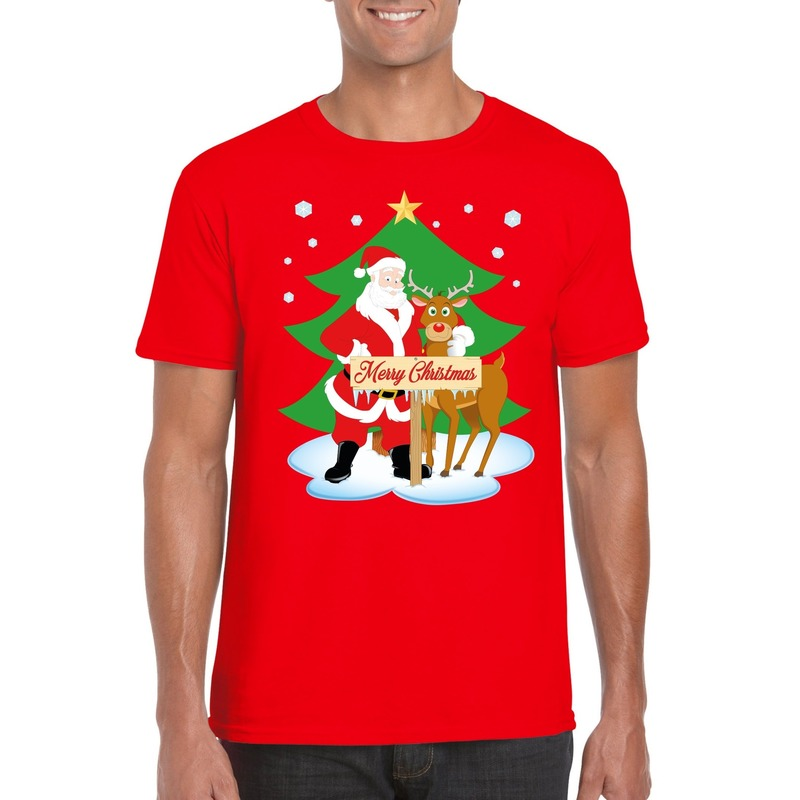 Foute Kerst t-shirt kerstman en rendier Rudolf rood heren
