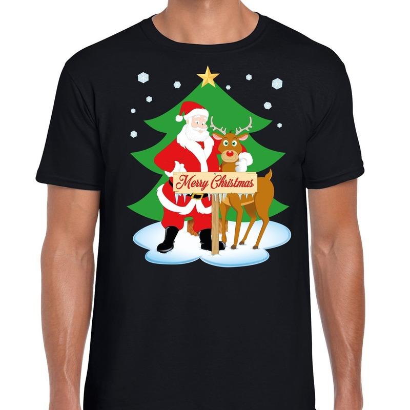 Foute Kerst t-shirt kerstman en rendier Rudolf zwart heren
