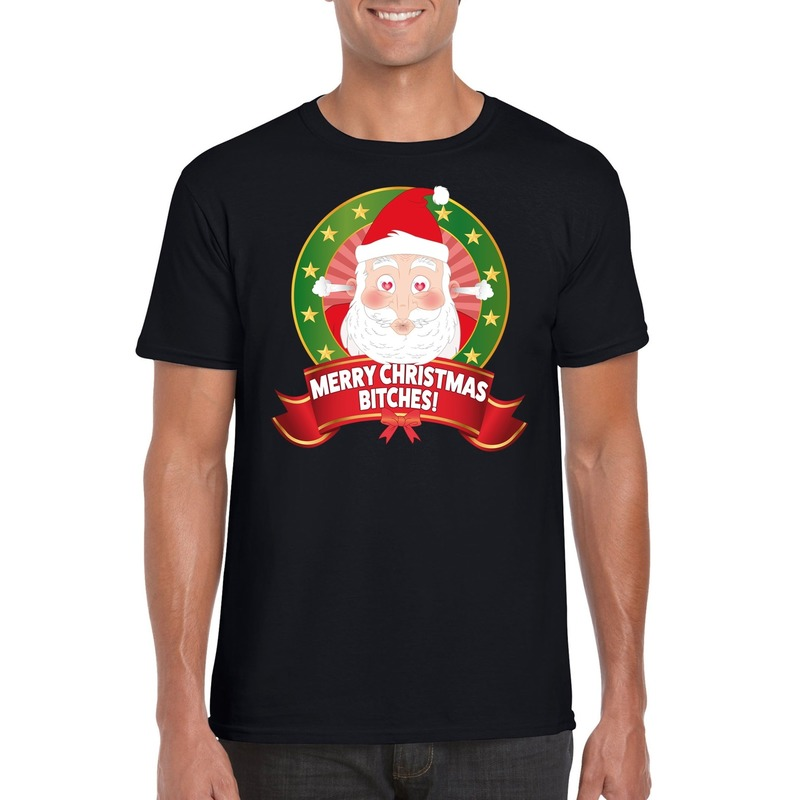 Foute Kerst t-shirt merry christmas bitches voor heren