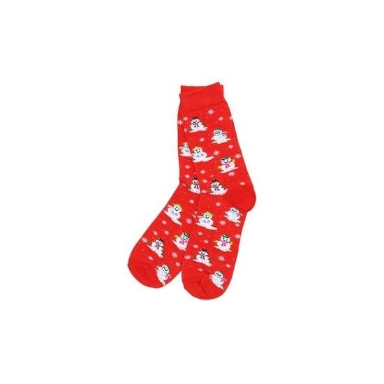 Foute kerstsokken rood met sneeuwpoppen dames/heren - maat 39-45