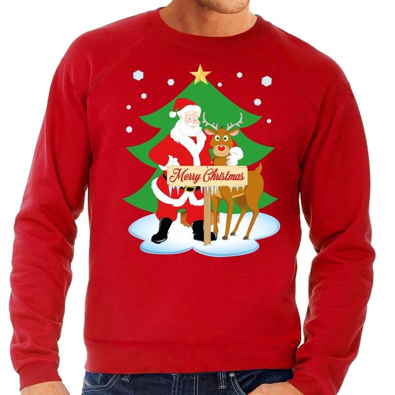 Foute kersttrui kerstman en rendier Rudolf rood heren