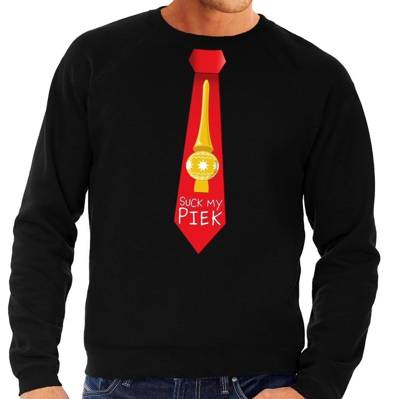 Foute kersttrui stropdas suck my piek zwart voor heren