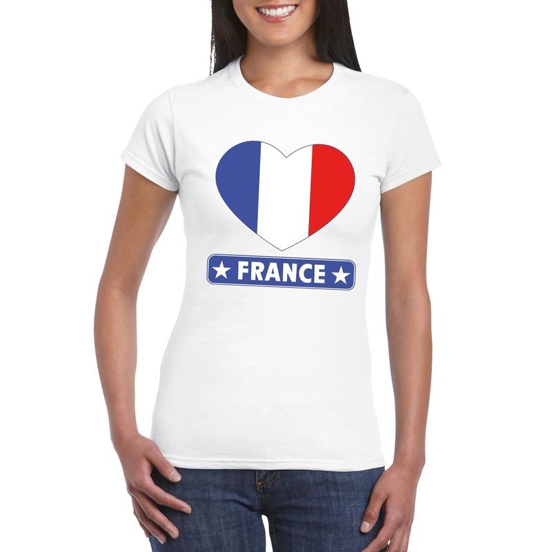 Frankrijk hart vlag t-shirt wit dames