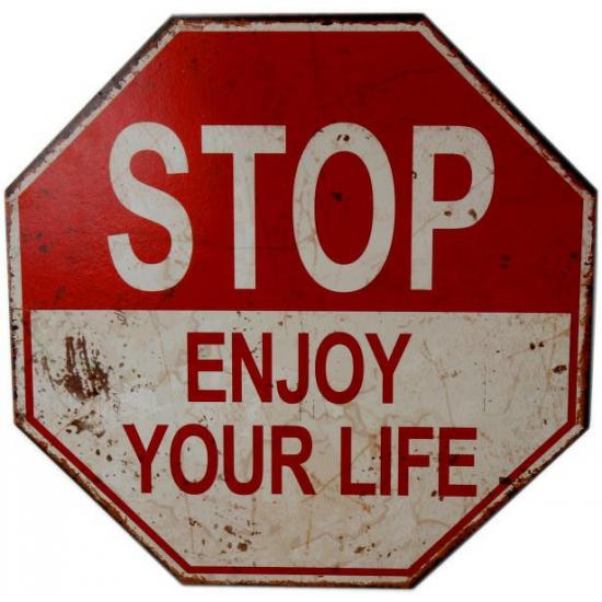 Fun verkeersbord Stop Enjoy Your Life