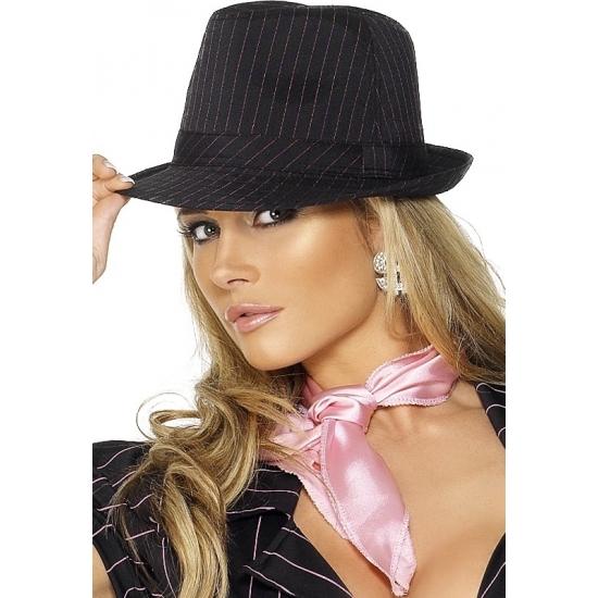 Gangster hoed zwart met roze
